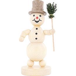 Schneemann mit Besen - 12 cm