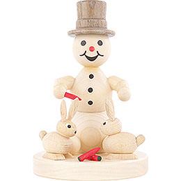 Schneemann mit Hasen - 10 cm