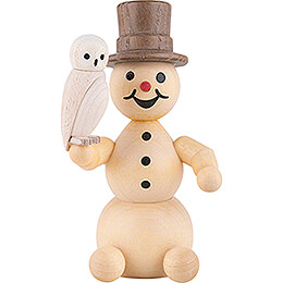 Schneemann mit Schneeeule sitzend - 12 cm