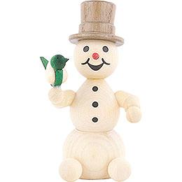 Schneemann mit Vogel - 8 cm