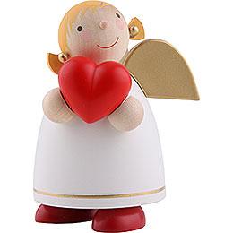 Schutzengel mit Herz, weiss - 8 cm