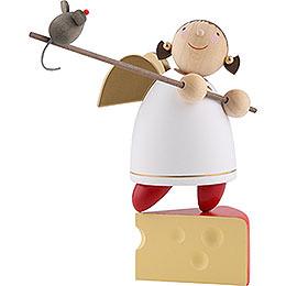 Schutzengel mit Maus auf Käse balancierend - 8 cm