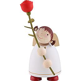 Schutzengel mit Rose, weiss - 8 cm