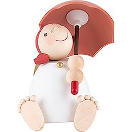 Schutzengel mit Schirm, rotorange - 16 cm