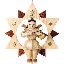 Schwebeengel natur mit Violine im Stern - 28 cm