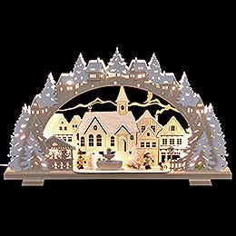 Schwibbogen Adventszeit verschneit mit Schlittenkind und Hund - 53x31x4,5 cm