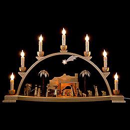Schwibbogen Christi Geburt natur - 60x35 cm
