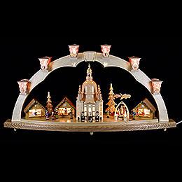 Schwibbogen Dresdner Frauenkirche mit Pyramide 80x40 cm