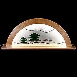 Schwibbogen Erle natur mit Glas und grüner Tanne - 79x14x35 cm