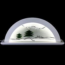 Schwibbogen Erle weiß mit Glas und grüner Tanne - 79x14x35 cm