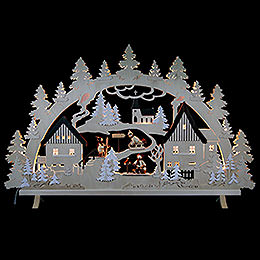 Schwibbogen Erzgebirgsdorf mit Figuren, Übergröße - 125x82x16 cm