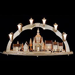 Schwibbogen Frauenkirche mit Strietzelmarkt - 80x43 cm