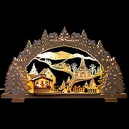 Schwibbogen Grillhütte verschneit - 53x31 cm