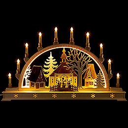 Schwibbogen Kirche mit Sternsängern und LED-Innenbeleuchtung - 78x45 cm
