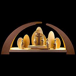 Schwibbogen LED modern Kurrende und Kirche - 62x26,5 cm