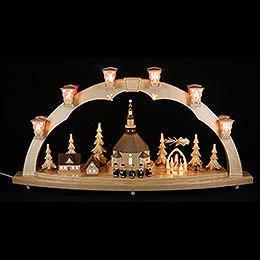 Schwibbogen Seiffener Kirche mit Pyramide 40x80 cm