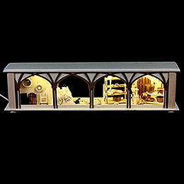 Schwibbogen-Unterbau/Raumleuchte Mehlkammer - 50x12x10 cm