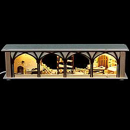 Schwibbogen-Unterbau/Raumleuchte Tischlerlager, braun - 50x12x10 cm