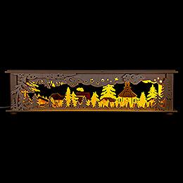 Schwibbogen-Unterbau/Raumleuchte Wald Seiffen farbig - 50x12 cm