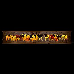 Schwibbogen-Unterbau/Raumleuchte für Schwibbogen mit 4 Figuren und farbigen Dächern - 133x26x18 cm