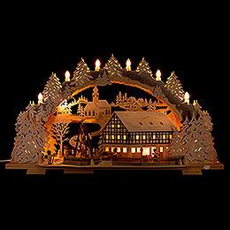 Schwibbogen Verschneites Café am Markt mit drehender Pyramide - 72x43 cm