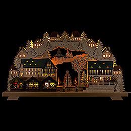 Schwibbogen Weihnachtsmarkt mit Baum - 70x40 cm