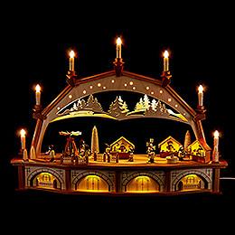 Schwibbogen Weihnachtsmarkt mit beweglichen Figuren - 76x52 cm