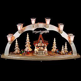 Schwibbogen Weihnachtswald mit Adventshaus, elektrisch - 80x41 cm