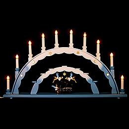 Schwibbogen mit Engel am Flügel und elektrischer Beleuchtung und drei Engeln - 70x40 cm