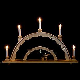 Schwibbogen mit Engel an der Zither und elektrischer Beleuchtung - 55x32 cm