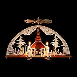 Schwibbogen mit Pyramide und Kerzen Seiffener Kirche - 51x27 cm