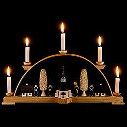 Schwibbogen mit Seiffener Kirche und Kurrende - 44x19,5 cm