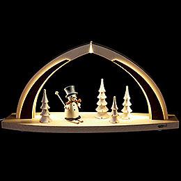 Schwibbogen modern wood Schneemann - 41x20x9,5 cm