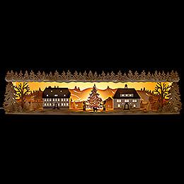 Schwibbogenerhöhung Seiffener Dorf - 75x20 cm