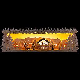 Schwibbogenerhöhung Weihnachtsmarkt verschneit - 60x17 cm