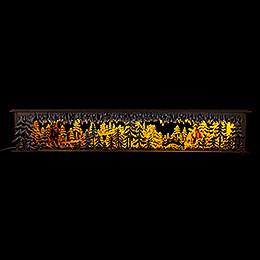 Schwibbogenunterbau/Raumleuchte Brücke im Wald mit geschnitzten Figuren - 80x15 cm