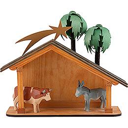 Seiffen Nativity - Nativity Stable - 6 pieces - 23 cm / 9.1 inch