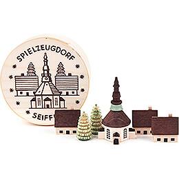 Seiffen Village in Wood Chip Box - 4 cm / 1.6 inch