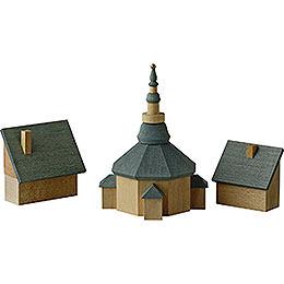 Seiffener Kirche mit Häusern - 11 cm