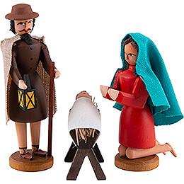 Seiffener Weihnachtskrippe - Heilige Familie - 3-tlg. - 8 cm