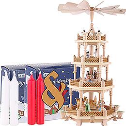 Set 4-stöckige Pyramide Christi Geburt bunt und zwei Packungen Kerzen rot/weiß