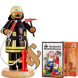 Set Räuchermännchen Feuerwehrmann und drei Packungen Räucherkerzen