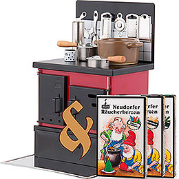 Set Räucherofen Küchenherd rot-schwarz und drei Packungen Räucherkerzen