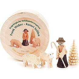 Shepherd in Wood Chip Box - 3,5 cm / 1.4 inch