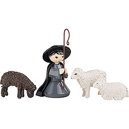 Shepherd kneeling with 3 Sheep, Colored - 7 cm / 2.8 inch
