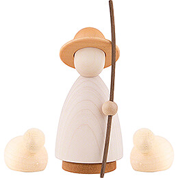 Shepherd with 2 Sheep Colored - Large - 9,5 cm / 3.7 inch