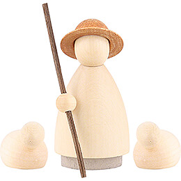Shepherd with 2 Sheep Colored - Small - 7 cm / 2.8 inch