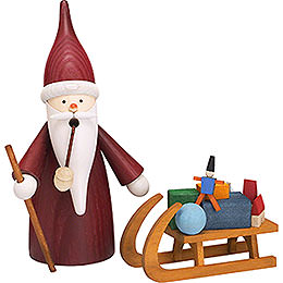 Smoker - Christmas Gnome with Sleigh - 16 cm / 6 inch