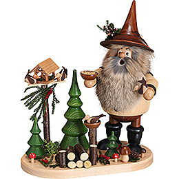 Smoker - Forest Gnome Bird Lover on Oval Plate - 26 cm / 10.2 inch