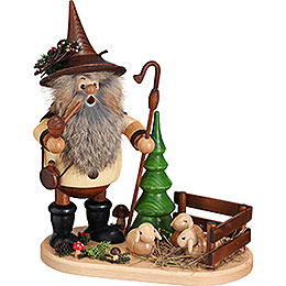 Smoker - Forest Gnome Shepherd on Oval Plate - 26 cm / 10.2 inch